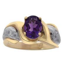 1.50 Carat Oval Cut Amethyst & 0.18 Carat Diamond Ring 14K Two Tone Gold - £348.22 GBP