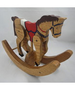 Hand Painted Wood Rocking Horse Jointed Handmade Decorative Folk Art Sig... - $18.37