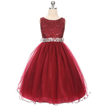 Burgundy Sequin Bodice Double Layers Tulle Skirt Rhinestones Flower Girl Dress - $37.00+