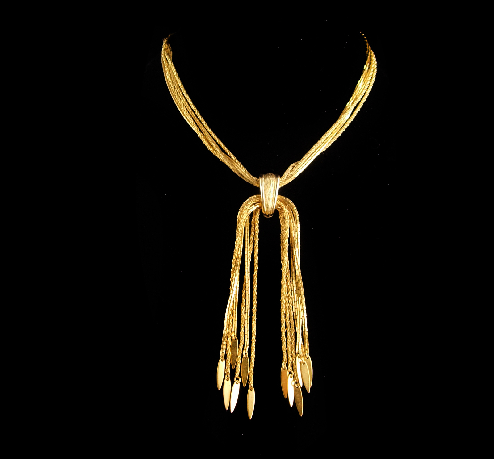 Vintage Monet necklace -  Gold Tassel Choker  - couture jewelry - Multi Strand f