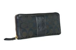 Coach Black Canvas Signature Leather Zip Round Long Wallet Women's Card ... - $108.90
