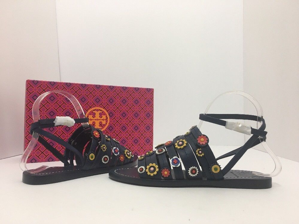002666c9c8bad S l1600. S l1600. Previous. Tory Burch Marguerite Navy Leather Floral  Women s Flats Sandals Size ...