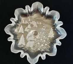 "MIKASA Christmas Story Footed 9 3/4"" Glass Compote Bon Bon Dish in Original Box - $12.13"