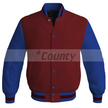 Letterman Super Baseball College Bomber Jacket Sports Maroon Blue Satin - $49.98+