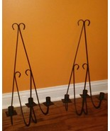 """60s Large 22"""" Wrought Iron Wall Sconces  Candle Holders Spanish-Mid-Cent... - $58.41"""