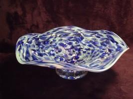Hand Blown Blue Art Glass Swirl Pedestal Bowl Ruffled Compote ~ Artist S... - $123.75