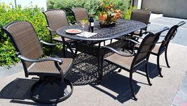 Cast aluminum wicker furniture 7 piece dining set Santa Clara outdoor patio image 3