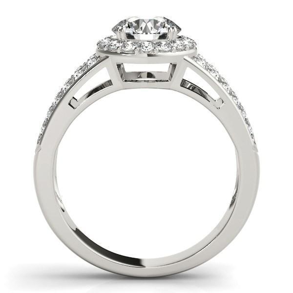 14k White Gold Round Split Shank Style Diamond Engagement Ring (1 1/2 cttw)