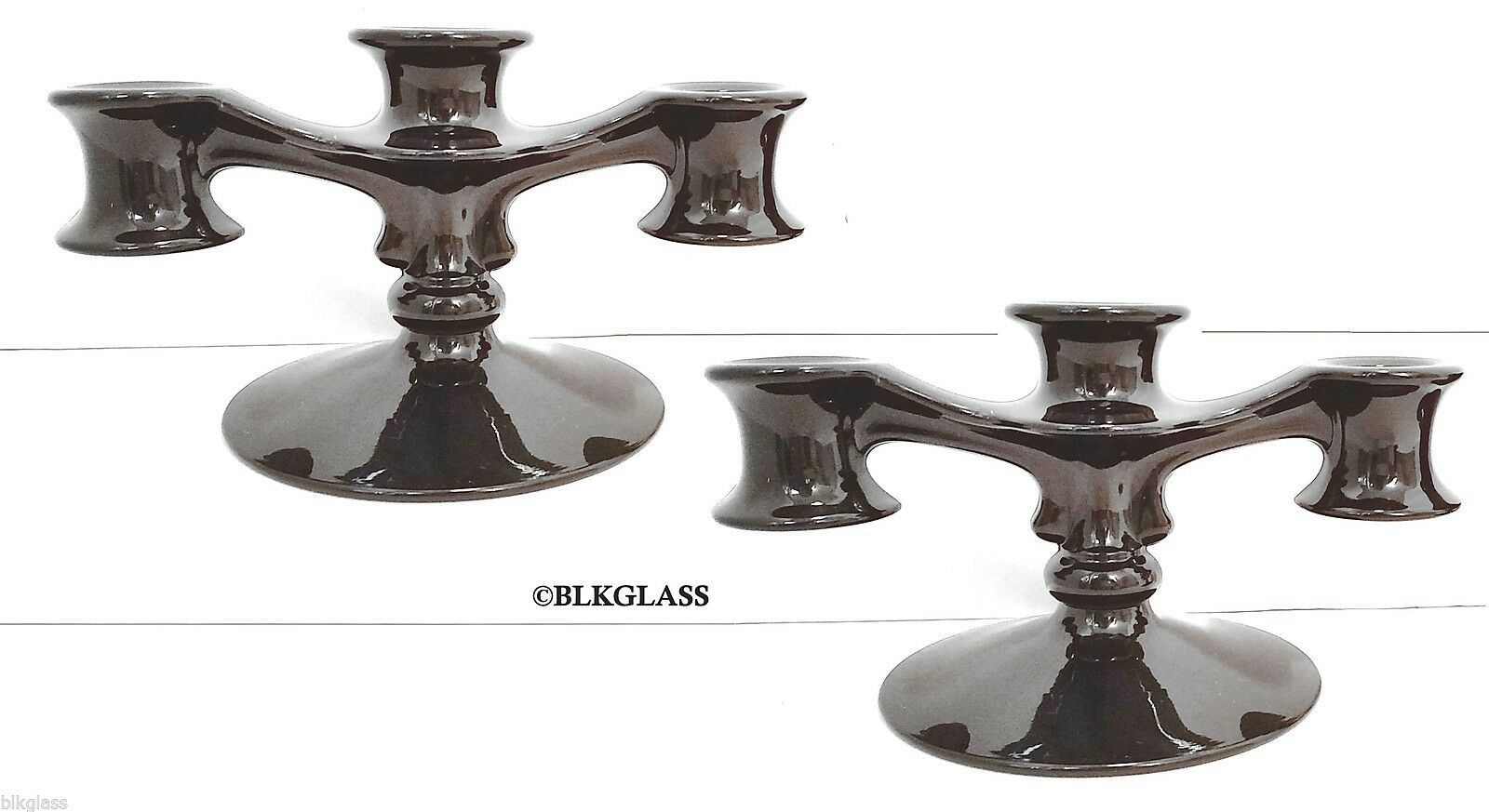 Fostoria Black Glass Pair  Trindle Candlesticks 3 Light Candle Holders Triple - $44.99