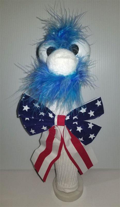 "D3 * Basic Custom ""Patriotic Blue Mustached Guy""  Sock Puppet * Custom Made"