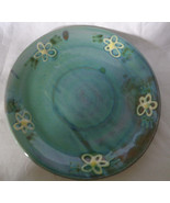 "Salad Plate Earthworks Barbados Pottery Blue Daisies Pattern 8"" Hand made - $18.05"