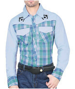 Cowboy Shirt Long Sleeve Camisa Vaquera El General Color Aqua - £22.97 GBP