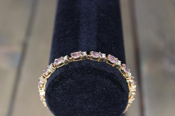 90s Avon Pink Crystal Bracelet 7 inch