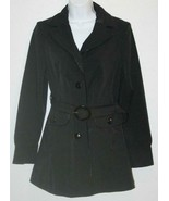"ANN TAYLOR Black Small Trench Coat Chest:37"" Rain Jacket Womens - $28.87"