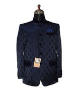 Men Navy Blue Jodhpuri Blazer Designer Dinner Party Wear Wedding Blazer - $299.99