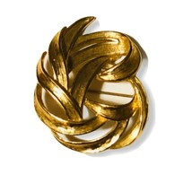 STUNNING VINTAGE SIGNED MONET GOLD TONE Swirled BROOCH!!! - $19.35