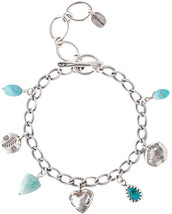 Chan Luu Turquoise and ite Semi Precious Sterling Silver Charm Link Brac... - $100.05+