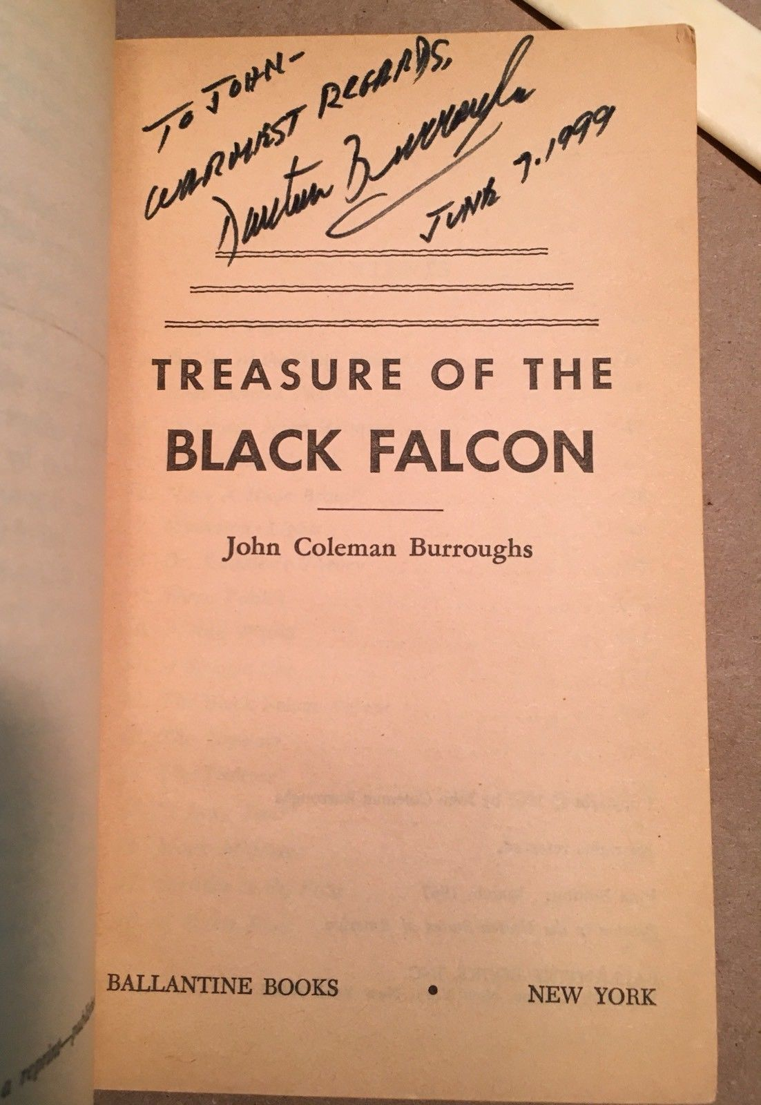 Treasure Of The Black Falcon U6085 John Coleman Burroughs 1967 signed