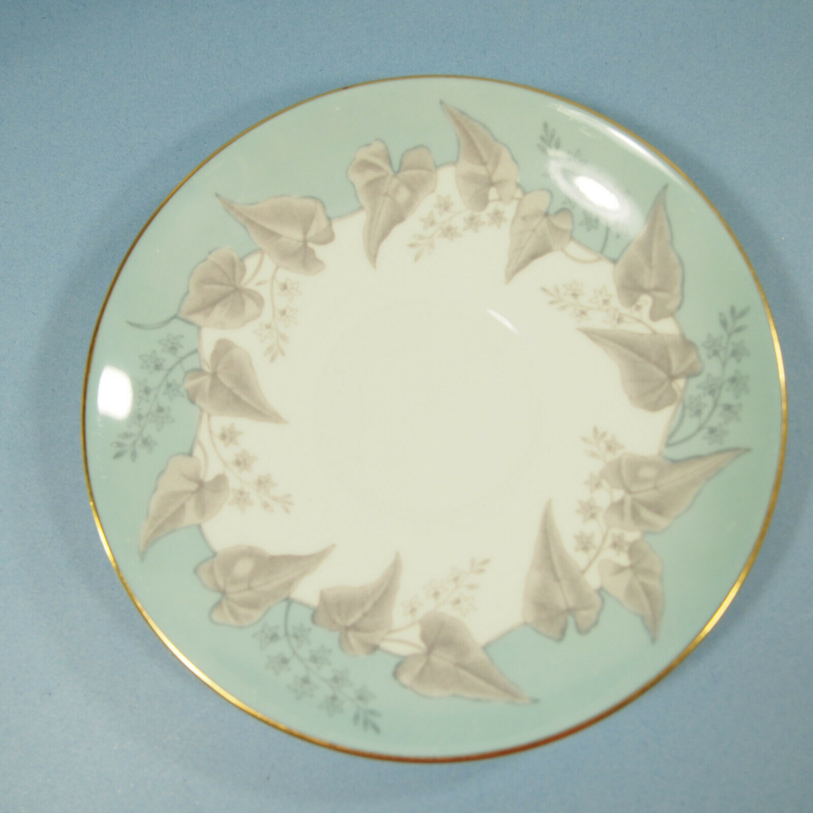 """Wedgwood Buxton Cup & Saucer 2 3/4"""" ~Turquoise With Gold Trim"""