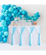 Blue Tulle Table Skirt Tutu Striped Table Skirts for Rectangle Tables 6f... - $19.65