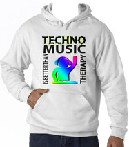 TECHNO MUSIC IS BETTER  - NEW COTTON WHITE HOODIE - $39.44