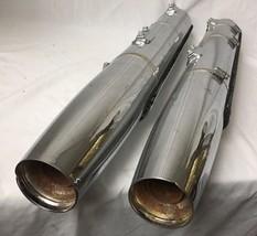 Pair Harley Davidson Dual Exhaust Pipes Mufflers w Heat Shields Chrome 65751-05 - $189.95
