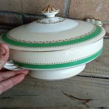 Vintage Noritake China Hyannis green large serving bowl with lid  - $85.13