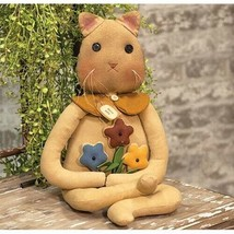 """farmhouse primitive country rustic muslin POSEY KITTY cat 20"""" doll w flo... - $46.99"""