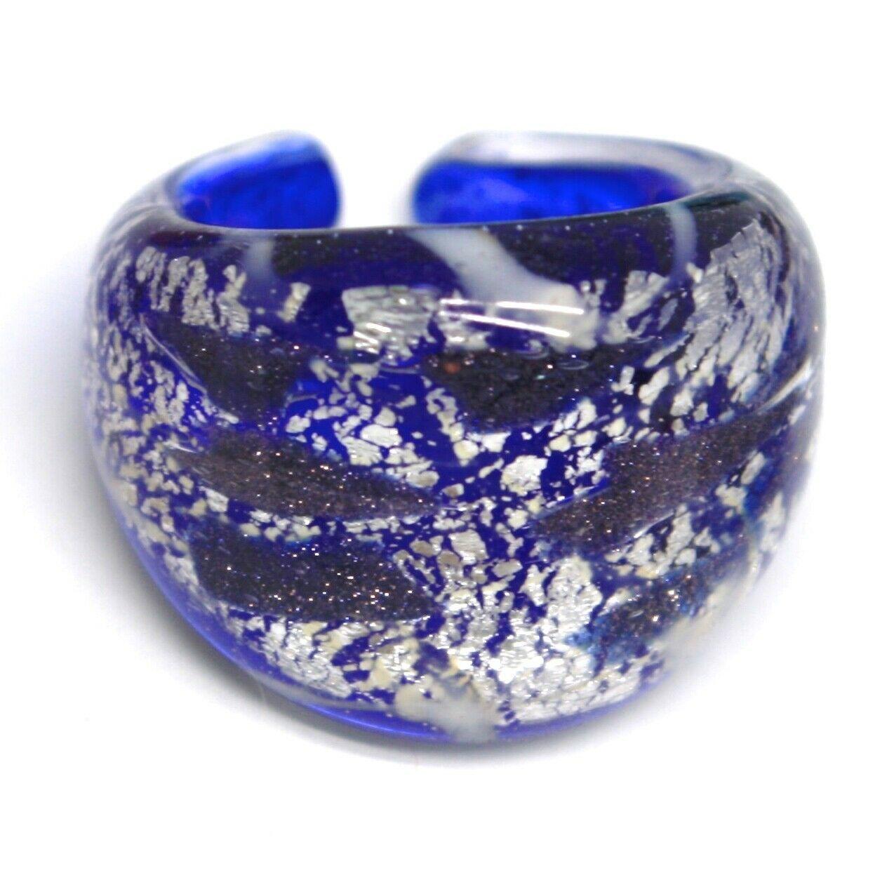 Ring Antica Murrina, Murano Glass, Blue, Leaf ' Silver, Glitter Black