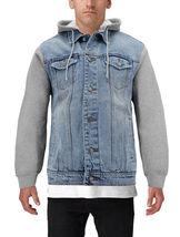 Men's Two Tone Jean And Grey Jersey with Removable Hood Denim Trucker Jacket image 3