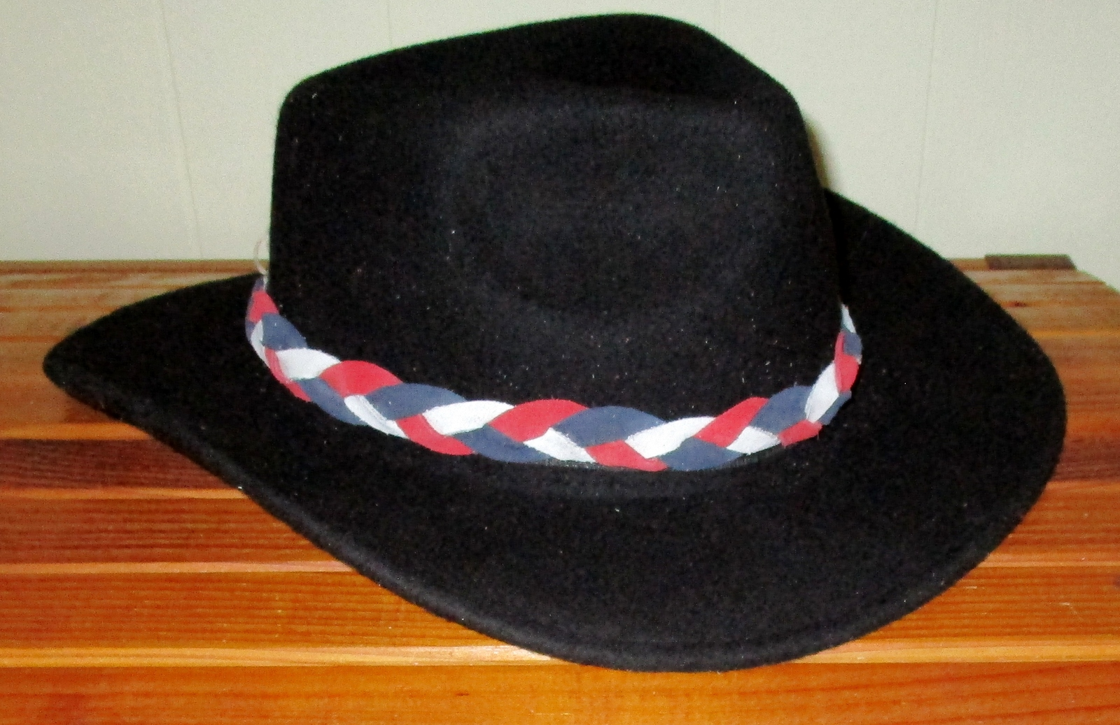 American Made! #1 Red, White & Blue Braided Leather Hat-Band,  Suede Leather