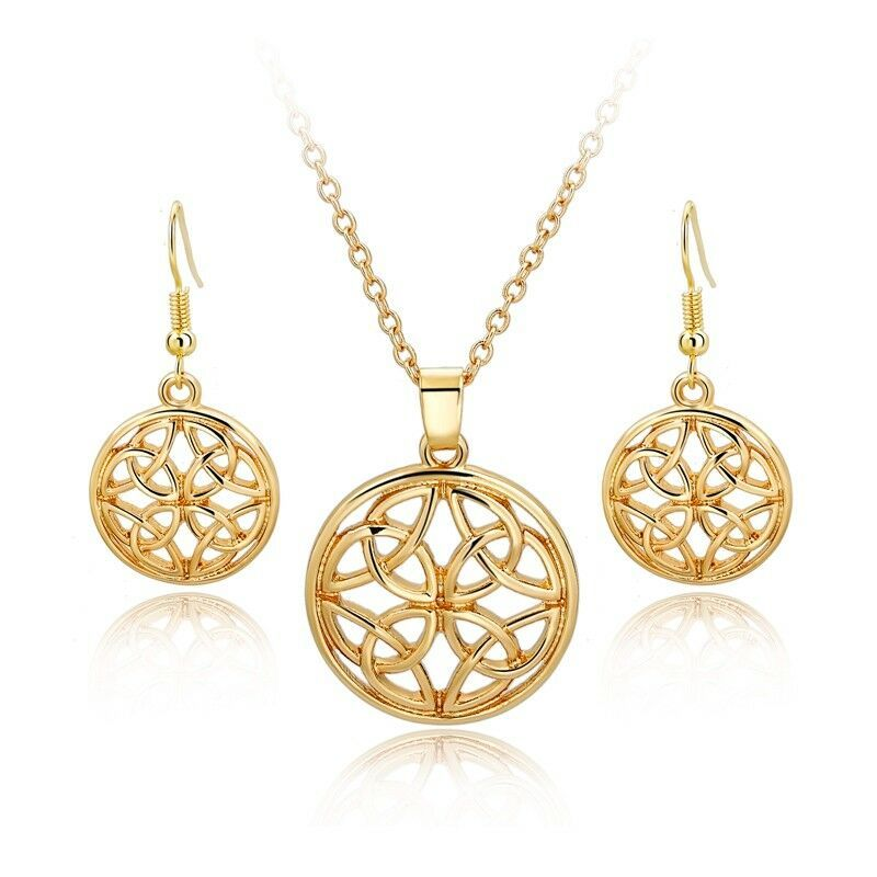 Primary image for Hollow Round Pendant Necklace and Earrings Set 24k Gold NEW