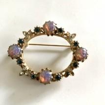 Vintage Gold Tone Blue Rhinestone Faux Opal Oval Wreath Pin Brooch J6642 - $15.19