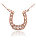 14K Rose Gold Lucky Horseshoe CZ Necklace - $119.99+