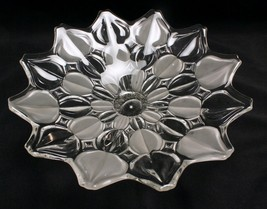 Satin and Clear Leaf Centerpiece Fruit Bowl 13 Inches Unmarked Mikasa - $25.23