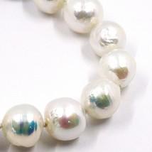 Pulsera Oro Blanco 18K, Perlas Grandes 13 mm, Blancas, Freshwater, Barroco - $270.52