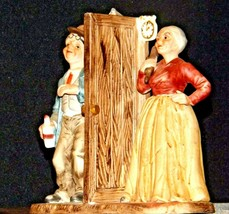 Man and Woman Figurine with God Bless Our Home AA19-1652 Vintage image 2