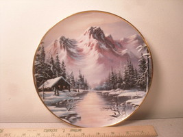 Peaceful Solitude Robert Huff Collector Plate Franklin Mint Snowy Cabin & RIver - $9.73