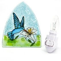 Fused Art Glass Hummingbird w Flower Nightlight Night Light Handmade in Ecuador