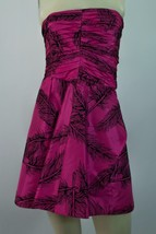 Auth Juicy Couture Mini Fuchsia Black Feathers Silk Strapless Dress Size 4 - $183.15