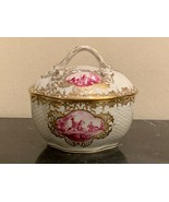 "Antique Dresden Porcelain Hand Painted Lidded Box 4.5"" High - $249.00"