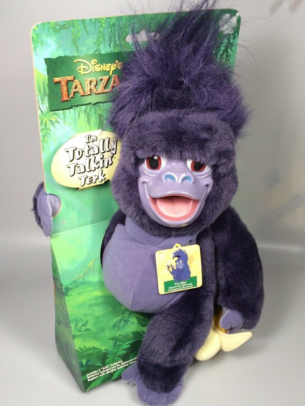 Disney Tarzan Monkey talking terk Purple plush stuffed animal NOS NEW