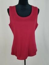 Karen Scott women L pull over sleeveless shirt burgundy tank top - $7.92