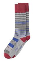 New Mens Alfani Seamless Striped Grey Heather Crew Dress Socks 10-13 - $3.46