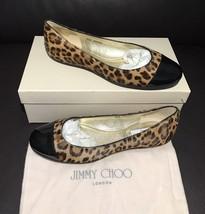 NIB Jimmy Choo Rare Leopard Pony Hair Black Patent Leather Cap Ballet Fl... - $243.63