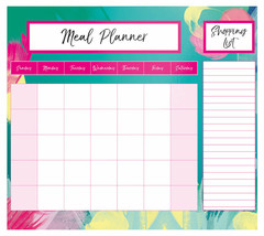 Magnetic Meal Planner & Shopping List Pad Monthly Notes Brushstroke Desi... - $4.04
