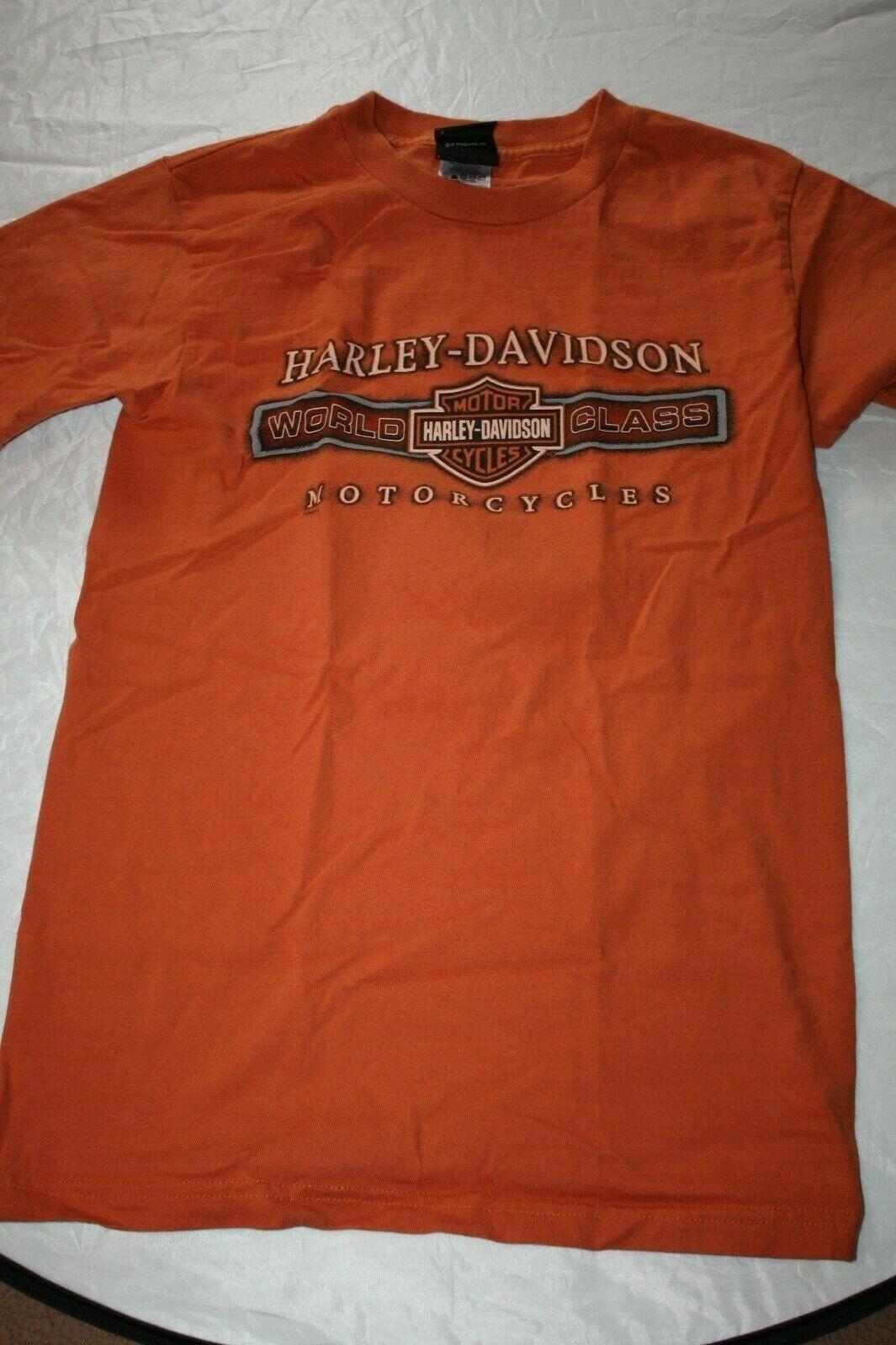 Harley Davidson Mens T-Shirt Orange Battlefield Harley Gettysburgh PA Size Small