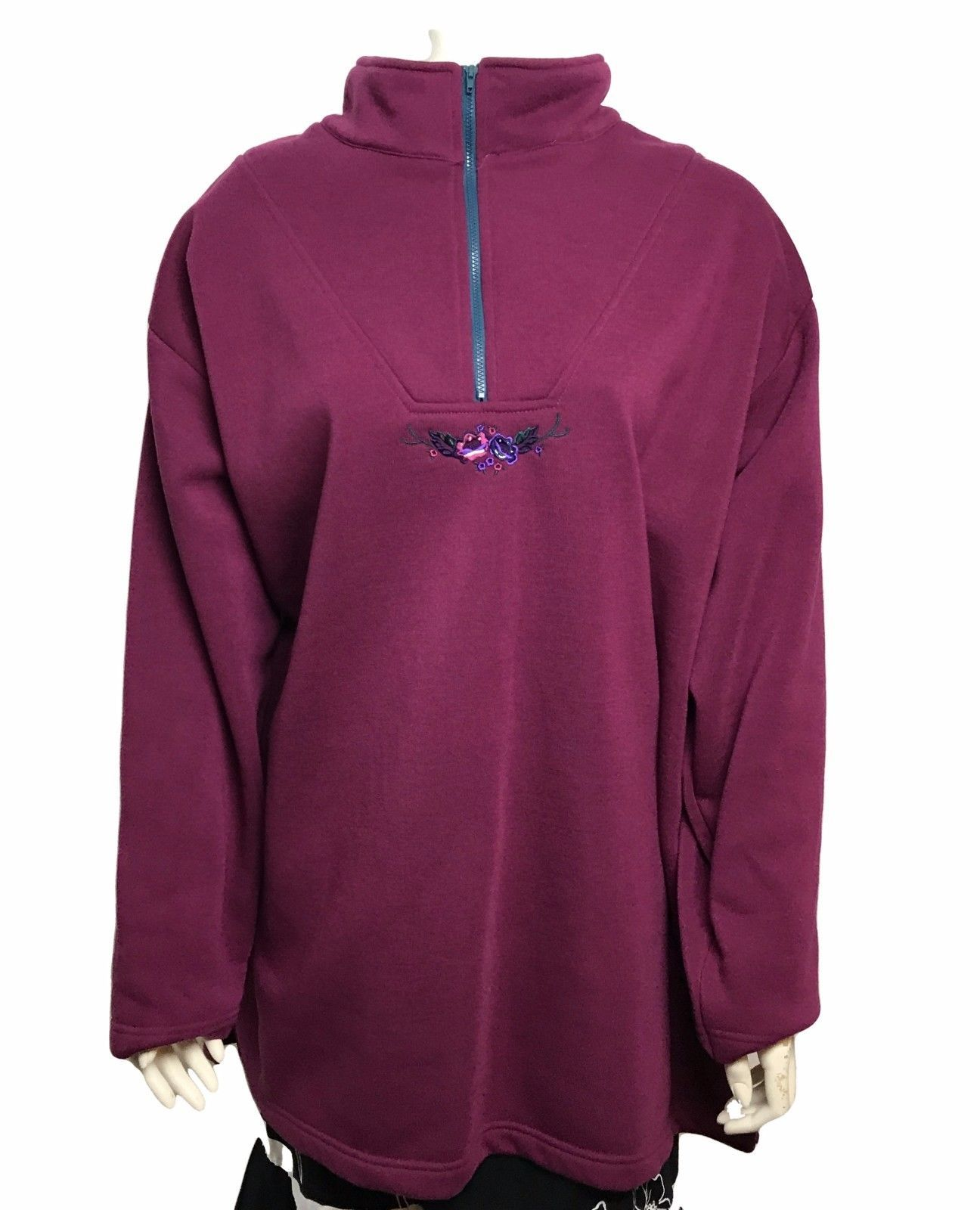 Primary image for Roamans Womens Plus Size Burgundy Floral Accent Half Zip Sweater Size 1X