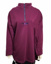 Roamans Womens Plus Size Burgundy Floral Accent Half Zip Sweater Size 1X - $18.81