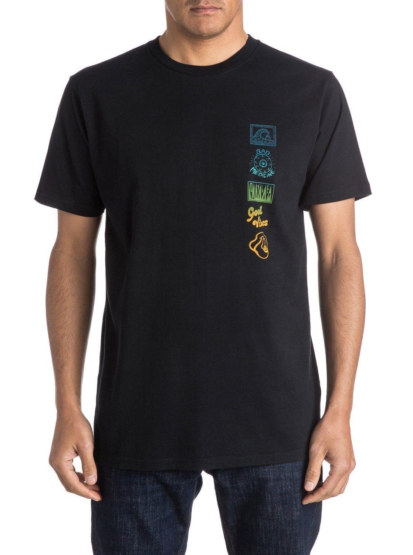 Quiksilver Men's Tee Shirt Surfing Beach Casual AM Side Track Black T-Shirt